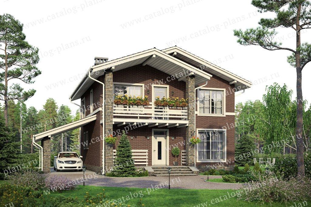 Проект жилой дом #57-91L материал - газобетон, стиль шале