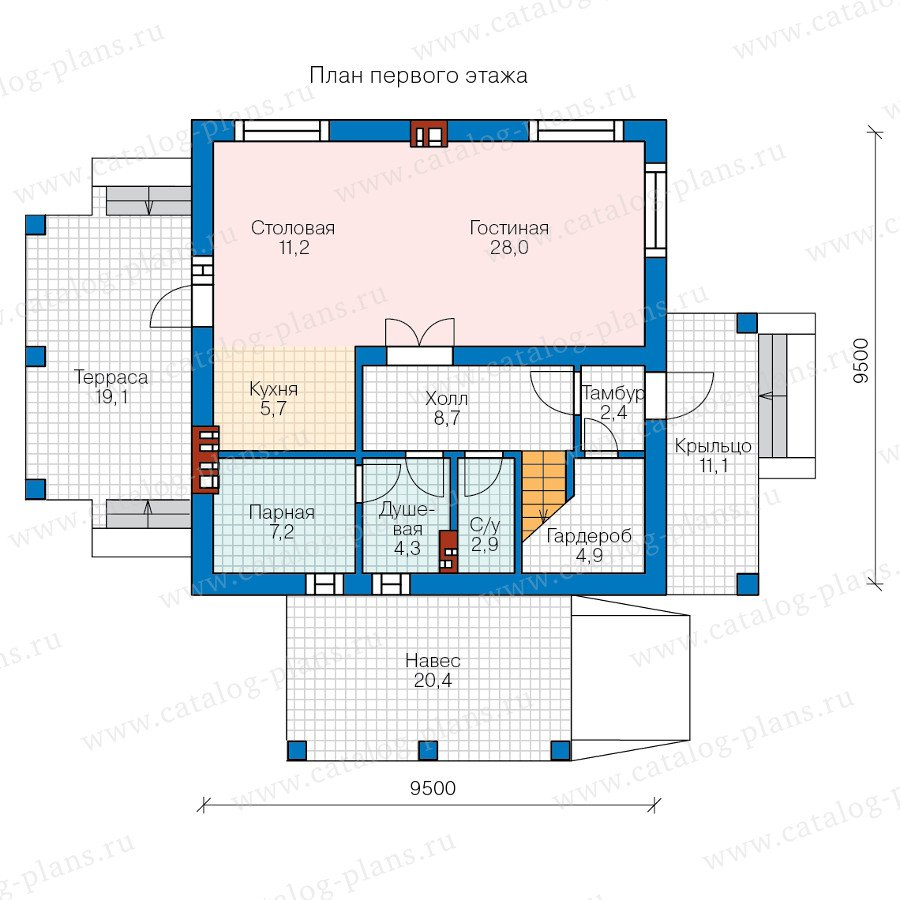 План 1-этажа проекта 57-91L