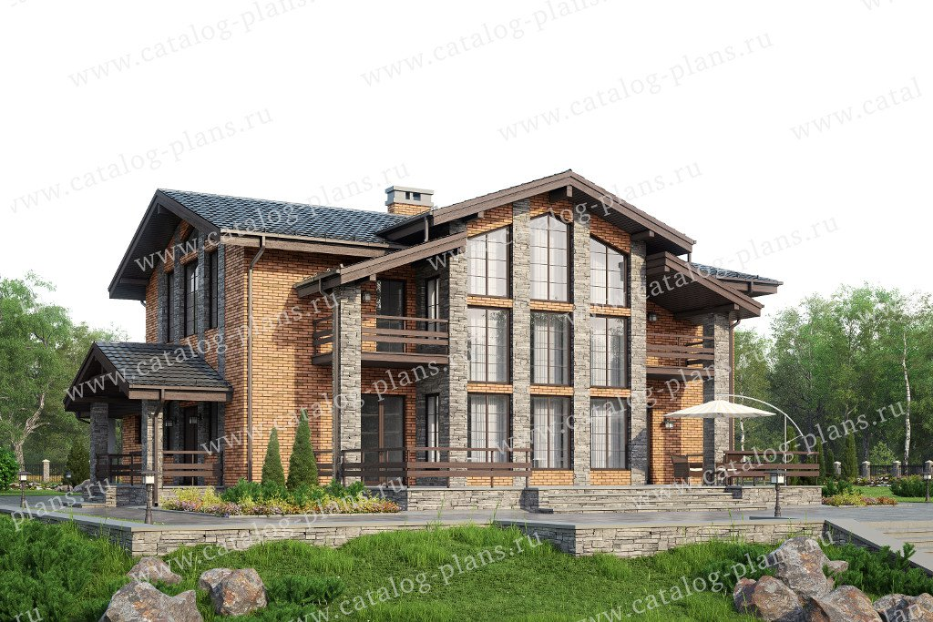 Проект жилой дом #57-82L материал - газобетон, стиль шале