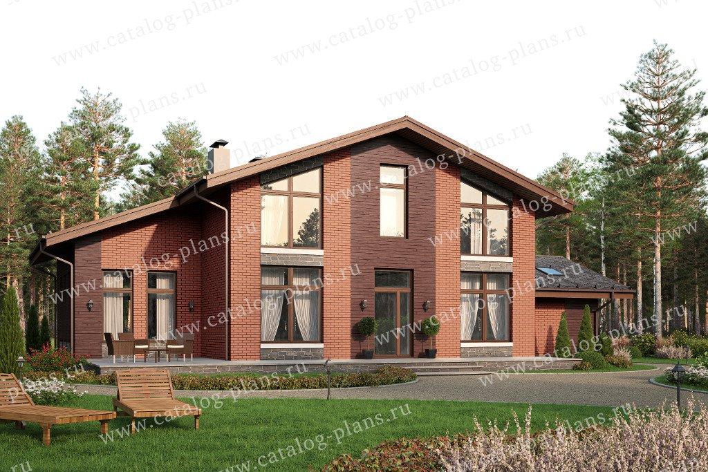 Проект жилой дом #57-88L материал - газобетон, стиль скандинавский
