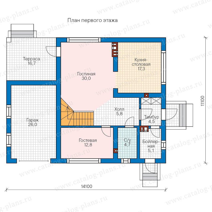 План 1-этажа проекта 58-21AL