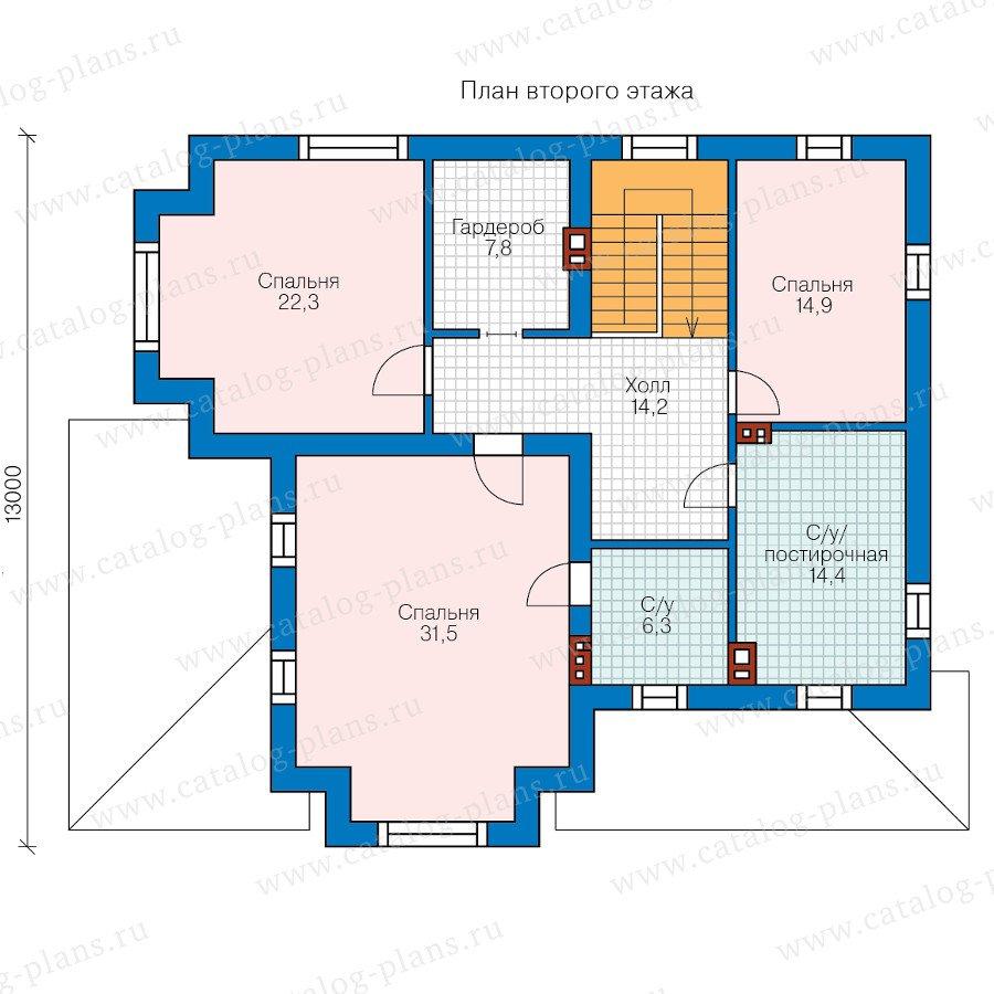 План 2-этажа проекта 58-07BBricks