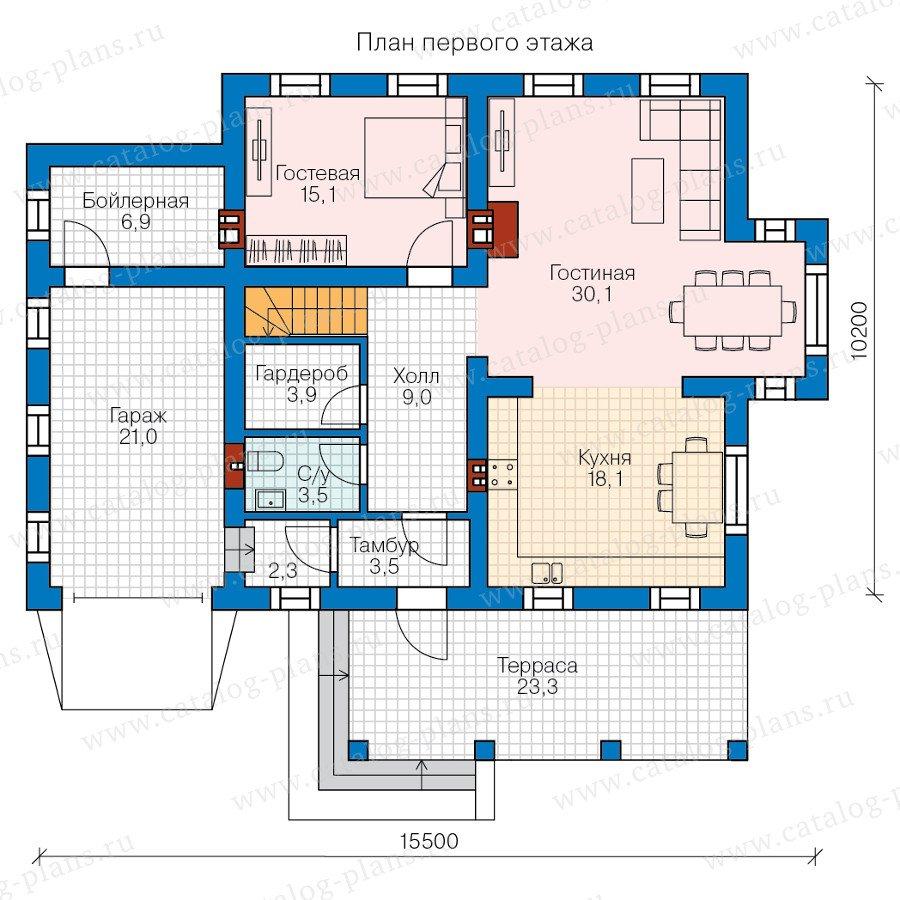 План 1-этажа проекта 58-18L