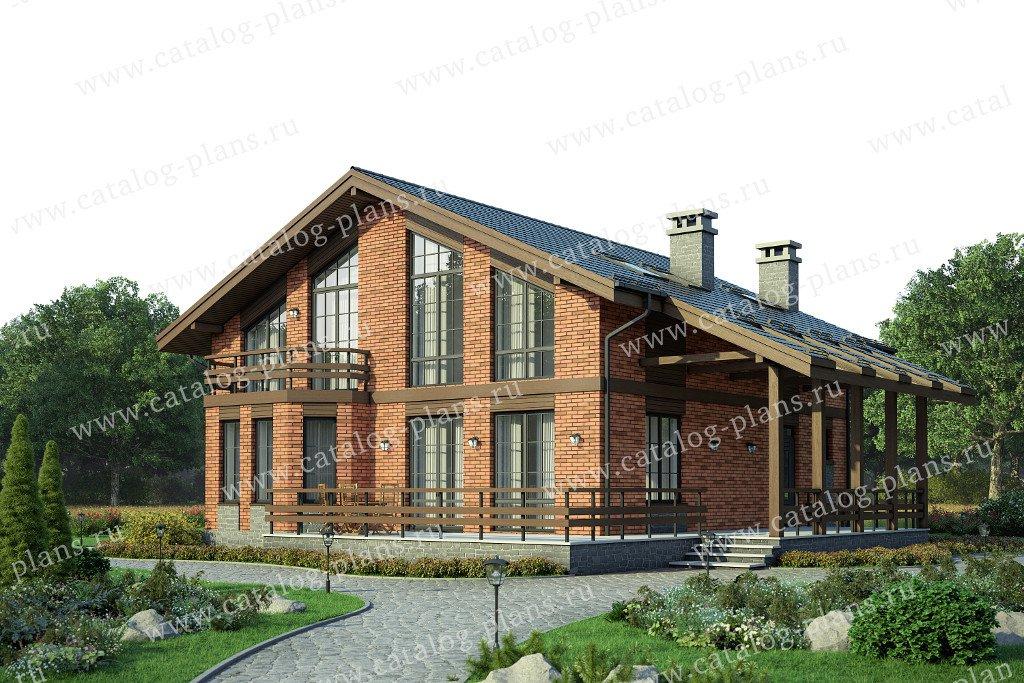 Проект жилой дом #58-23L материал - газобетон, стиль скандинавский