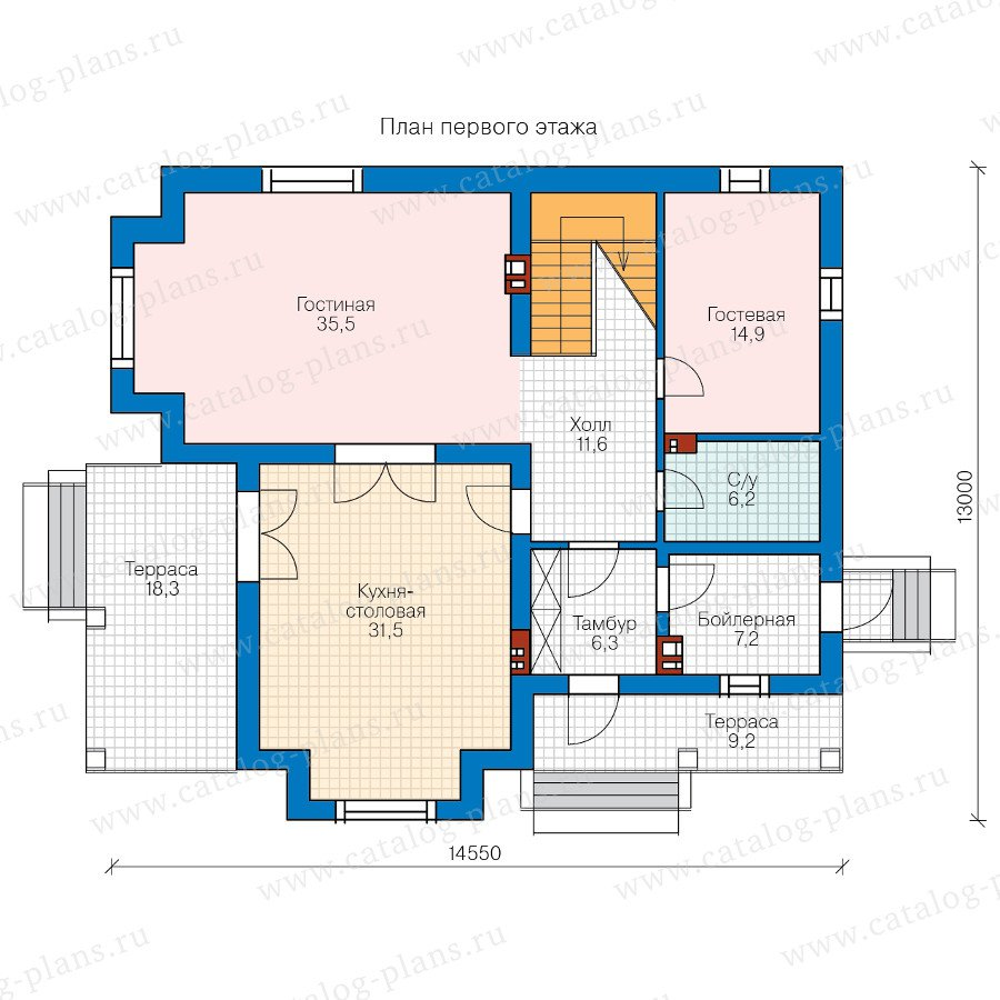 План 1-этажа проекта 58-07BBricks