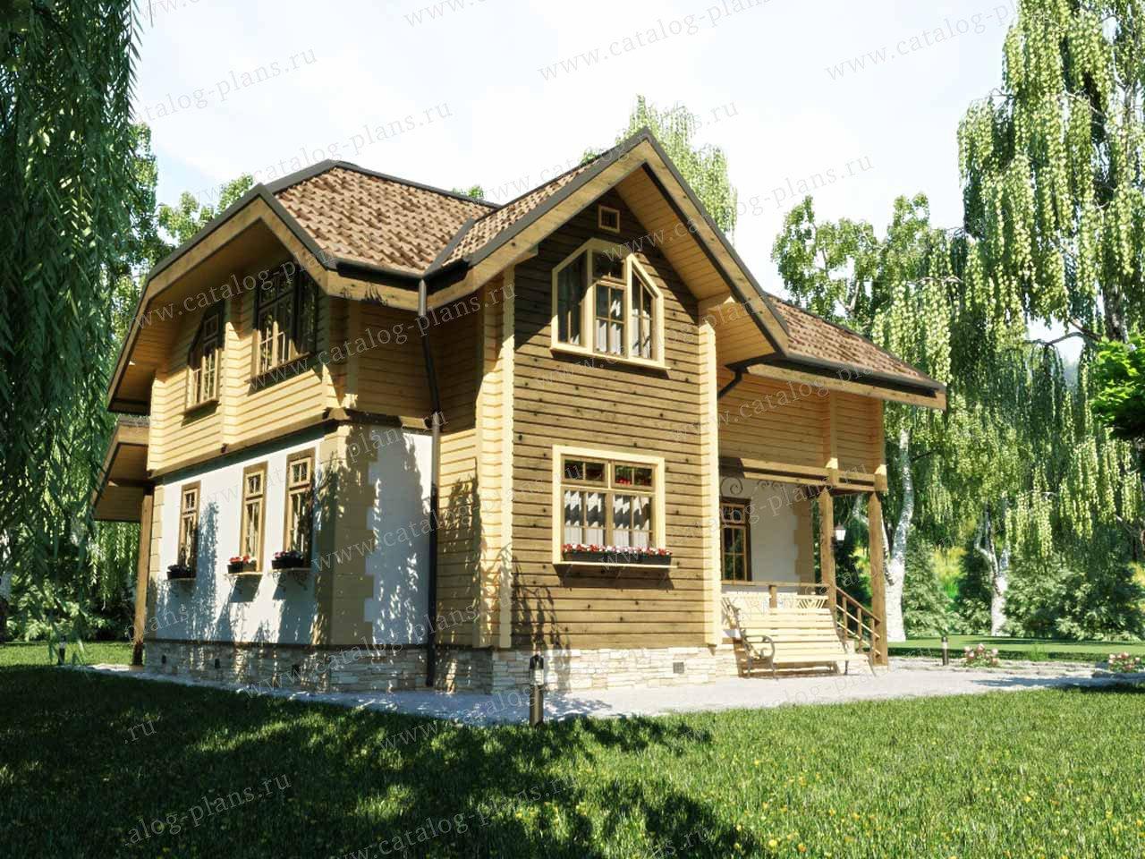 Проект жилой дом #13-12 материал - дерево, стиль европейский