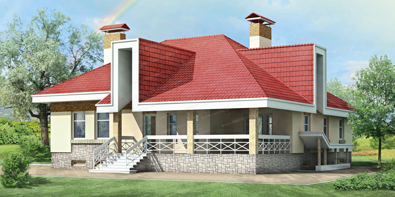 Проект жилой дом #33-07 материал - кирпич, стиль современный