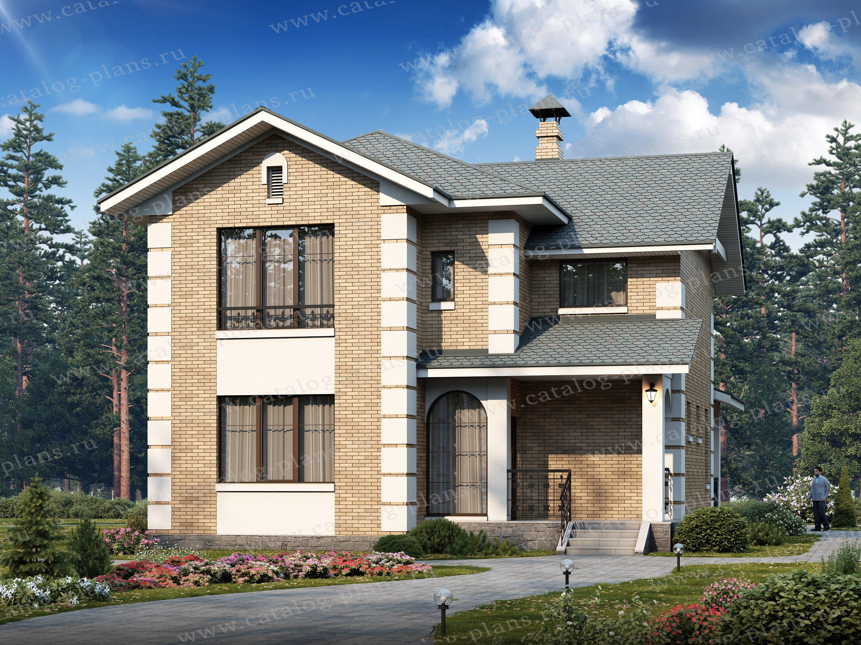 Проект жилой дом #47-04 материал - кирпич, стиль европейский