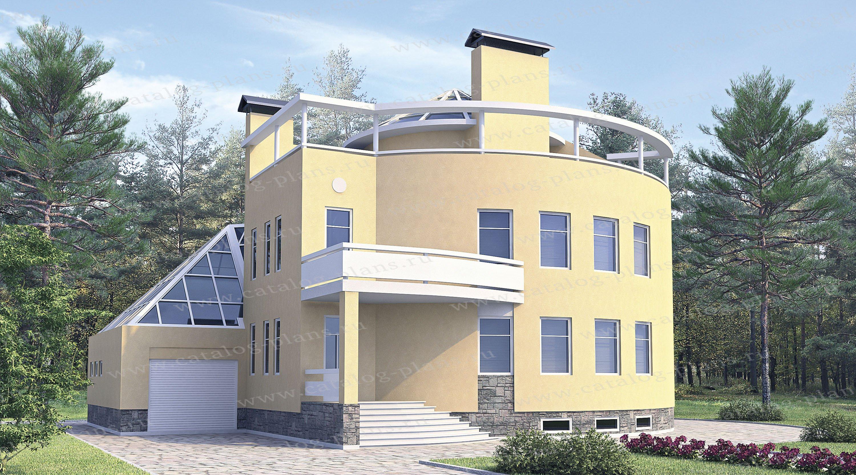 Проект жилой дом #33-99 материал - кирпич, стиль хай-тек
