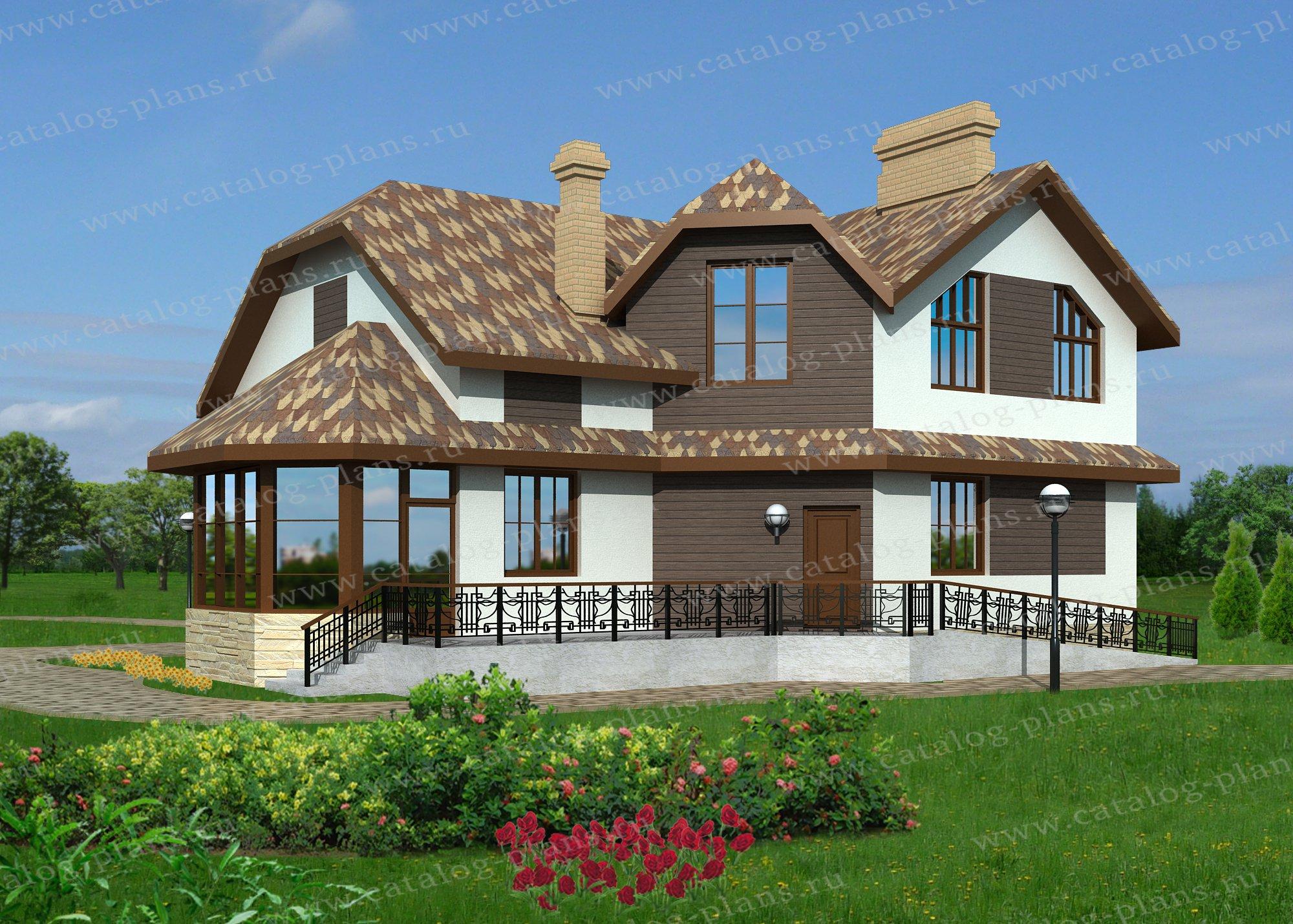 Проект жилой дом #60-04 материал - газобетон, стиль голанский