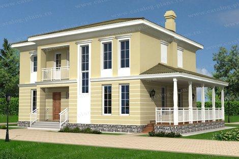 Проект жилой дом #60-48 материал - газобетон, стиль классический