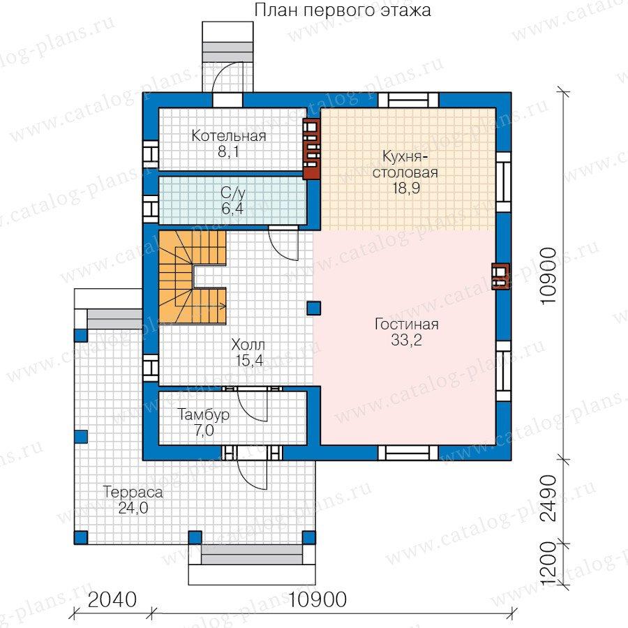 План 1-этажа проекта 58-75