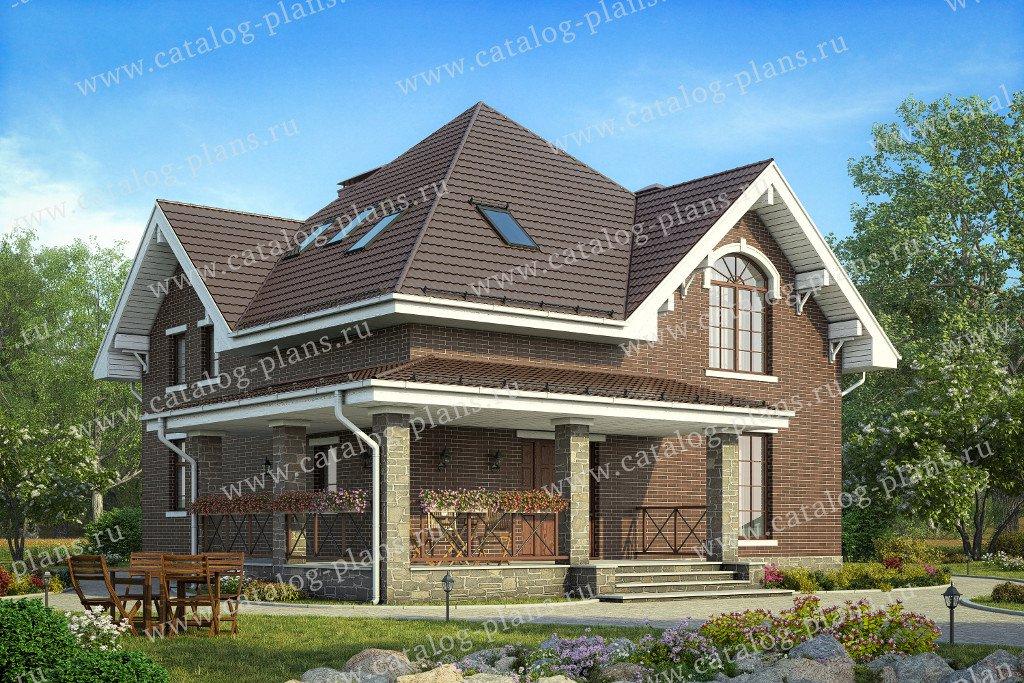 Проект жилой дом #58-75 материал - газобетон, стиль английский