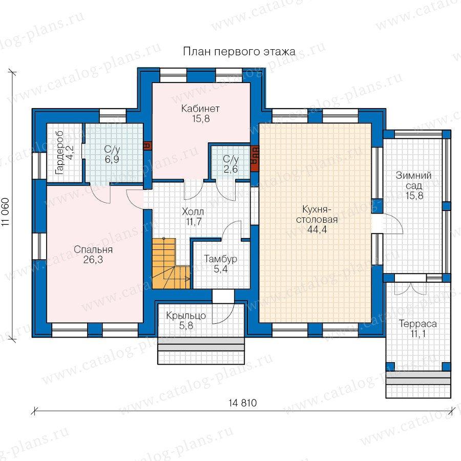 План 1-этажа проекта 40-60