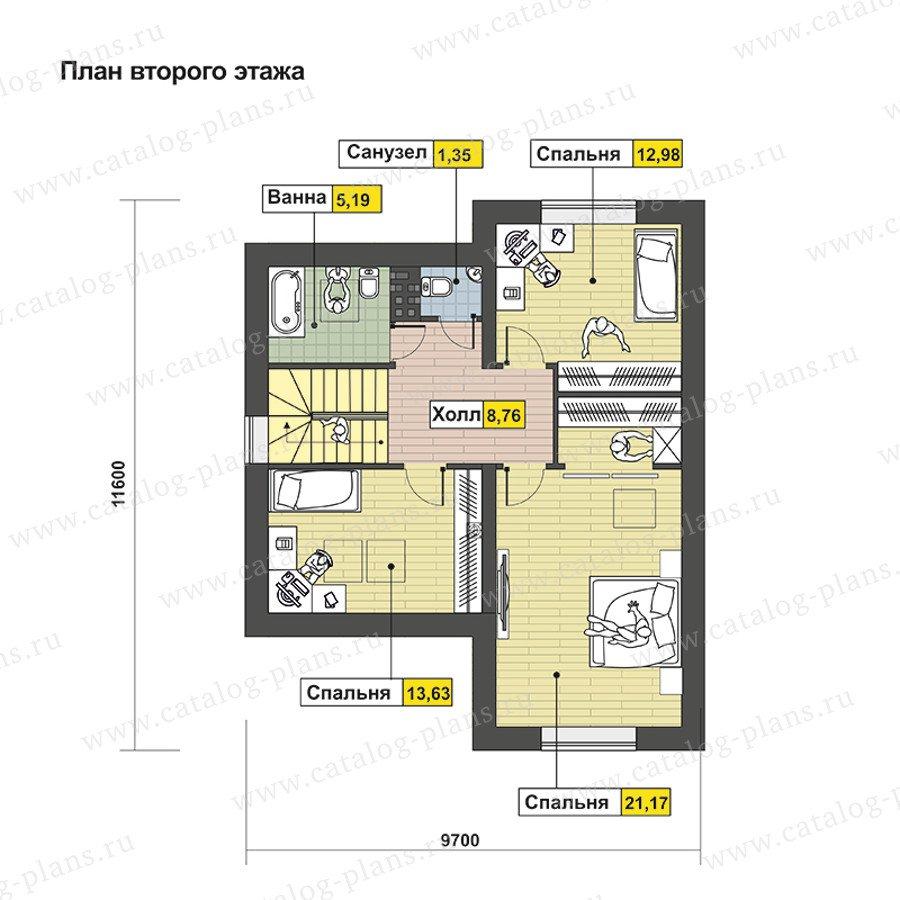 План 2-этажа проекта 60-94