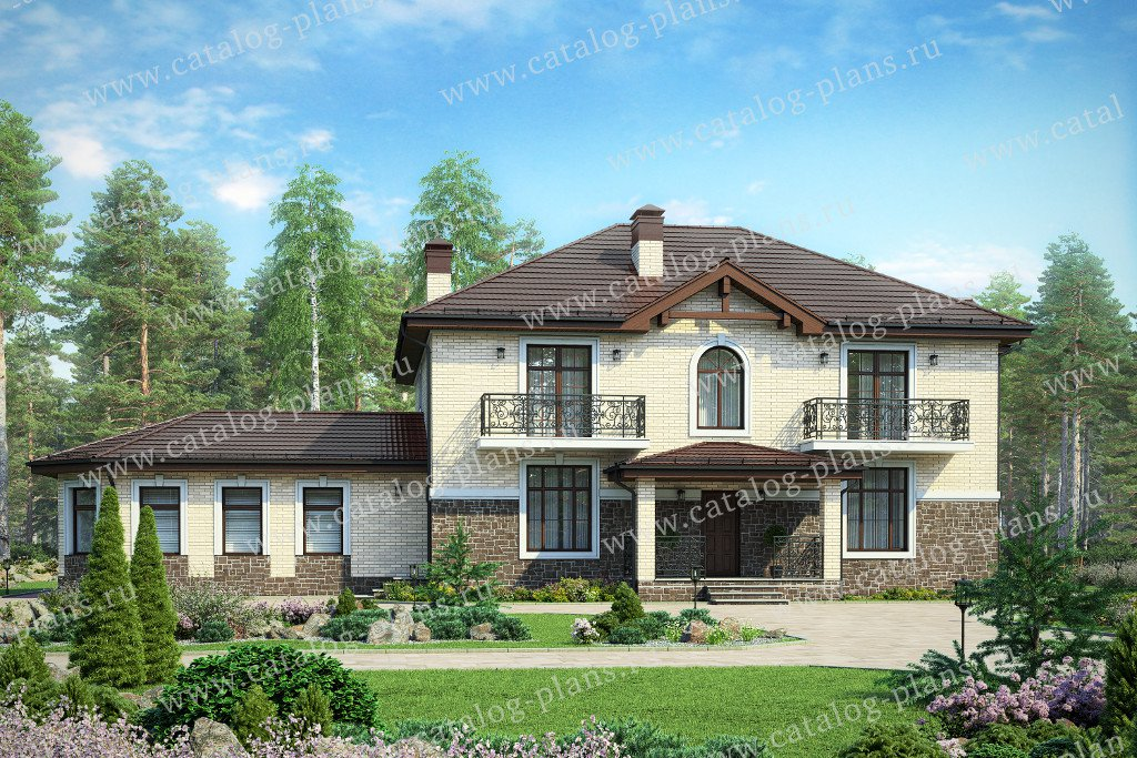 Проект жилой дом #48-29H материал - кирпич, стиль европейский