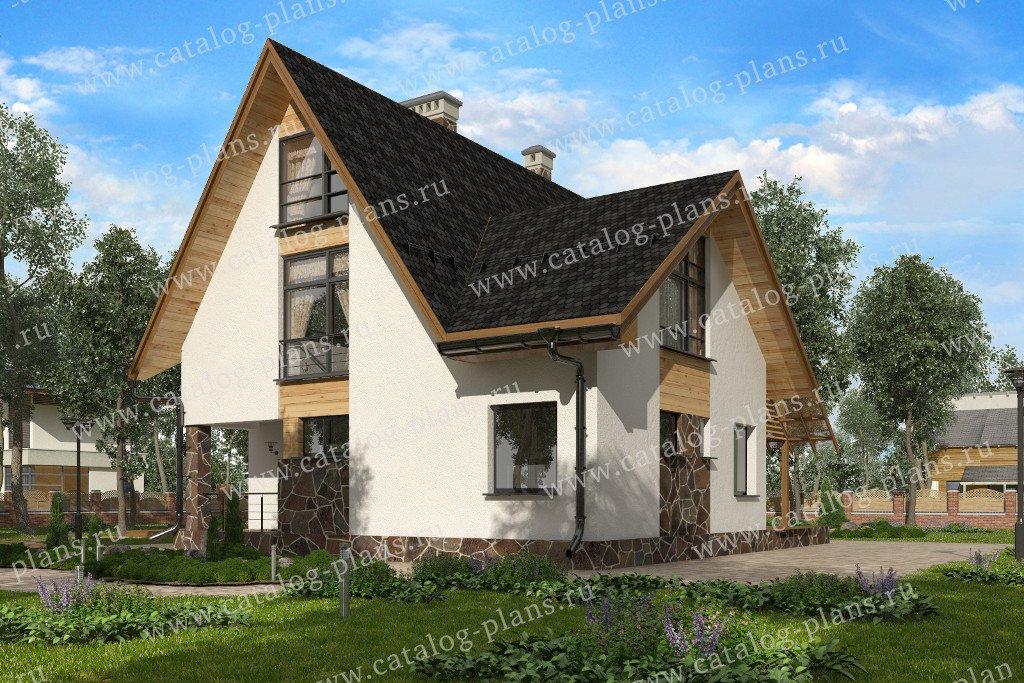 Проект жилой дом #60-93 материал - газобетон, стиль европейский