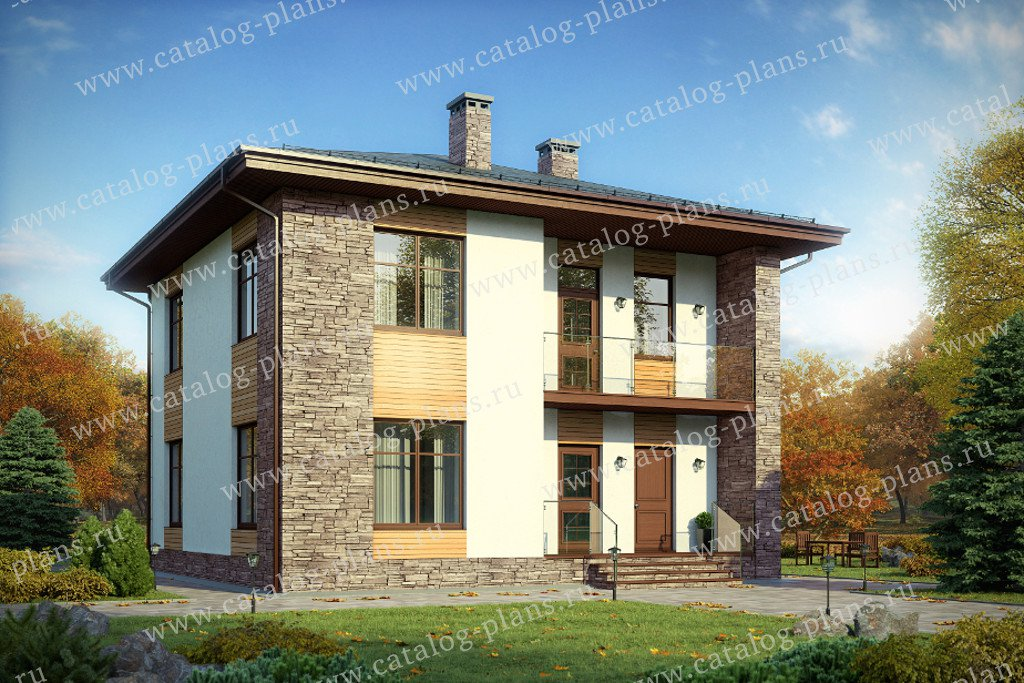 Проект жилой дом #60-95 материал - газобетон, стиль хай-тек