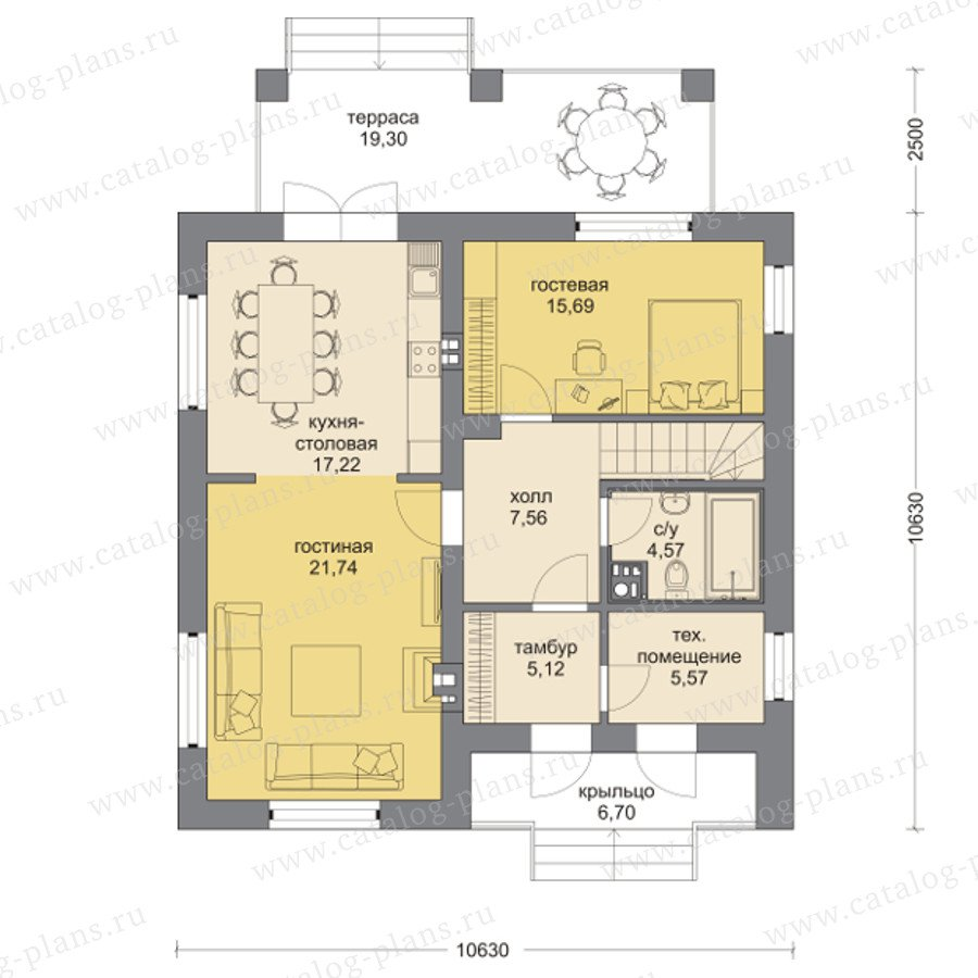 План 1-этажа проекта 60-95