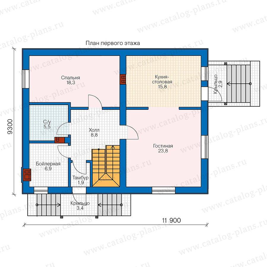 План 1-этажа проекта 58-72