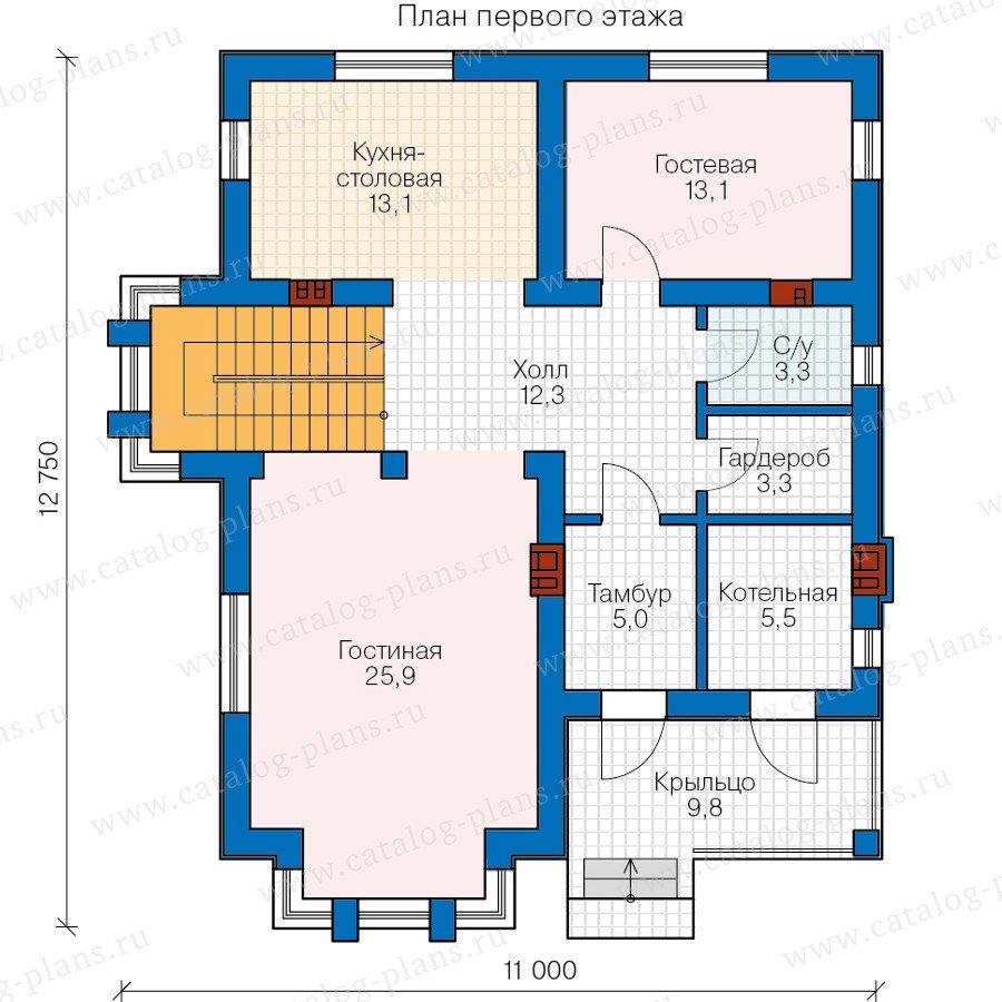 План 1-этажа проекта 58-76