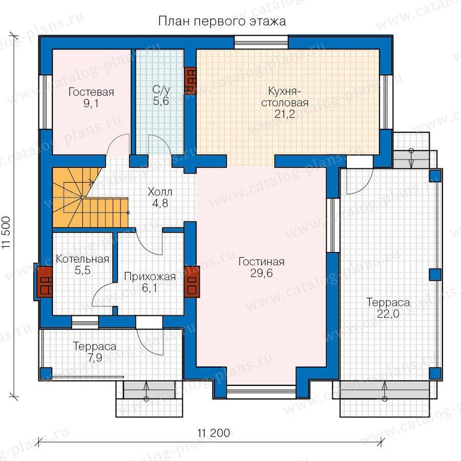 План 1-этажа проекта 58-77