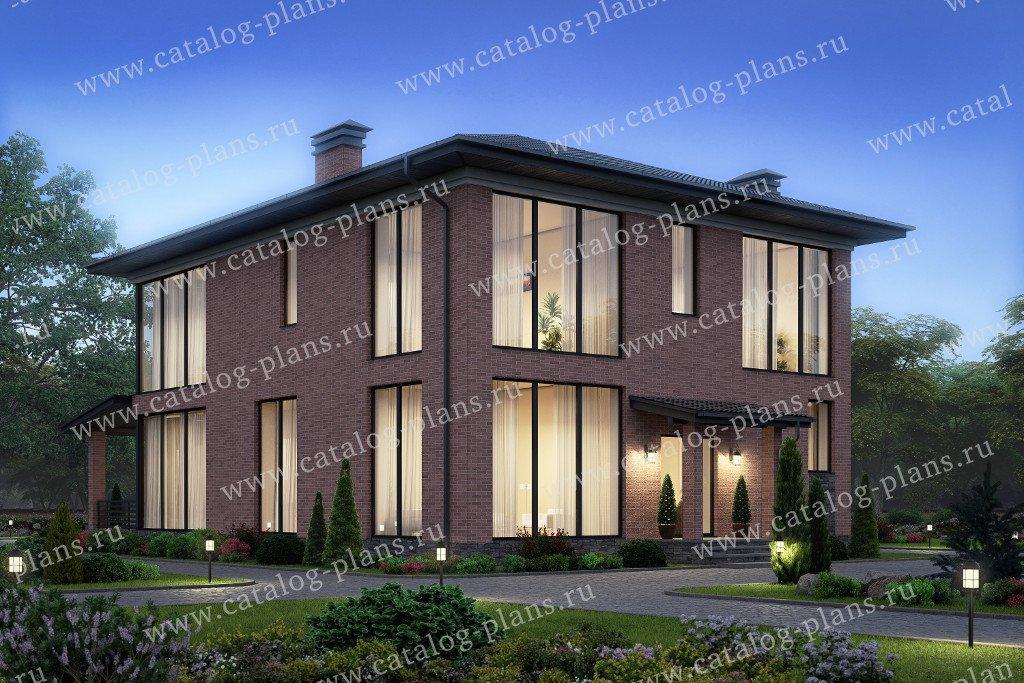 Проект жилой дом #40-45AL материал - кирпич, стиль минимализм
