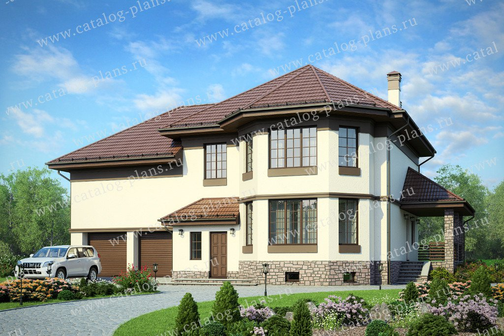 Проект жилой дом #40-66 материал - кирпич, стиль европейский