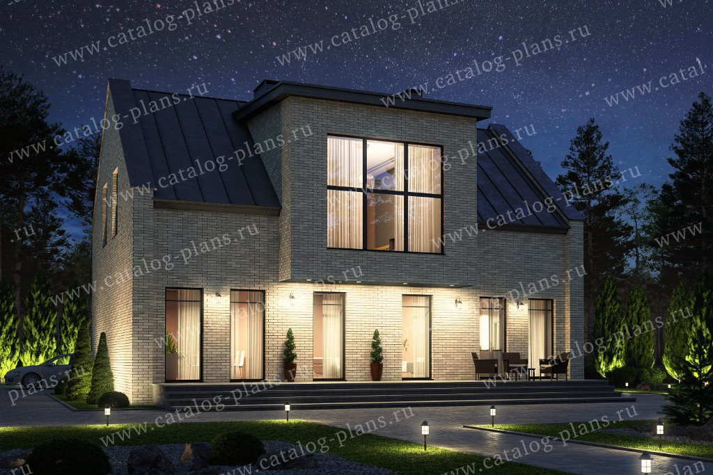 Проект жилой дом #40-72 материал - кирпич, стиль хай-тек