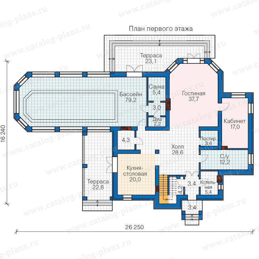 План 1-этажа проекта 58-74L