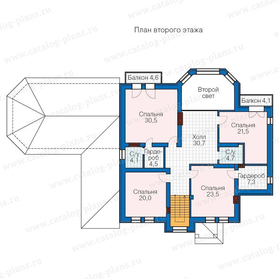 План 2-этажа проекта 58-74L