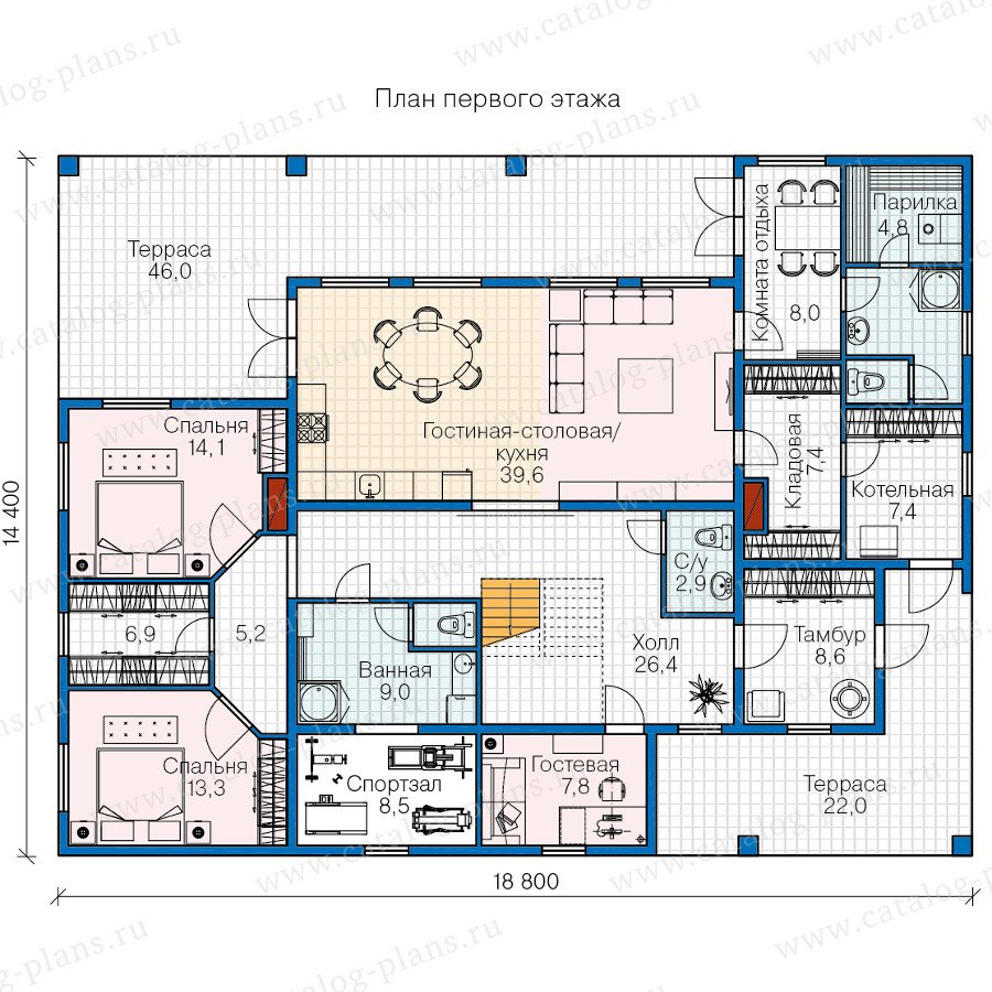 План 1-этажа проекта 70-83