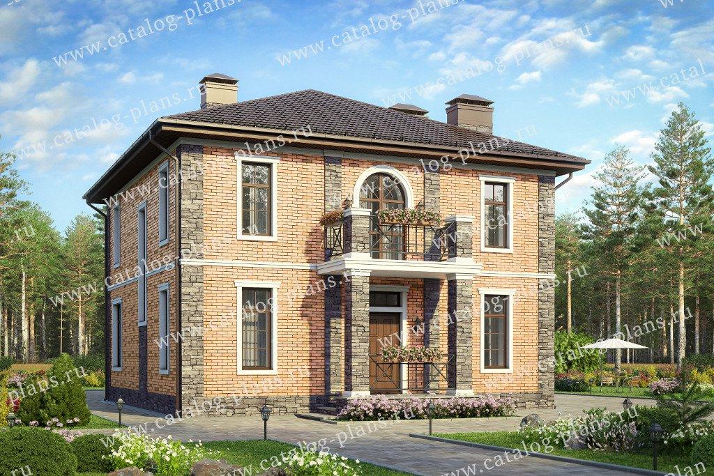Проект жилой дом #57-05KL материал - кирпич, стиль европейский