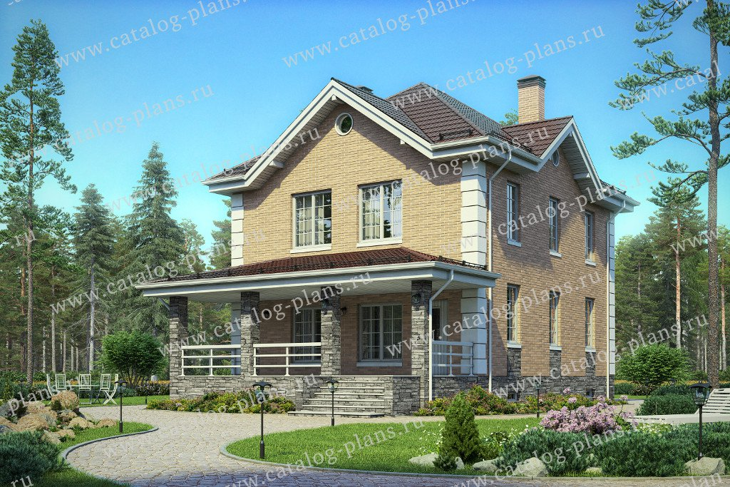 Проект жилой дом #40-73 материал - кирпич, стиль европейский