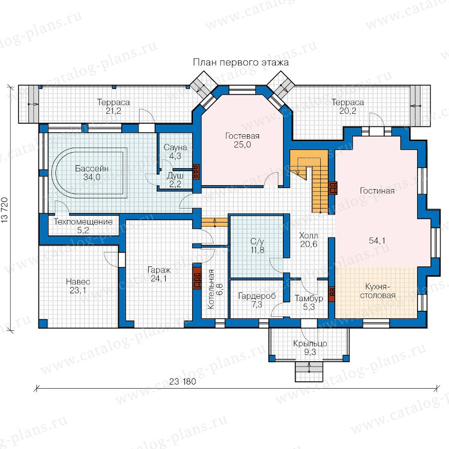 План 1-этажа проекта 40-74