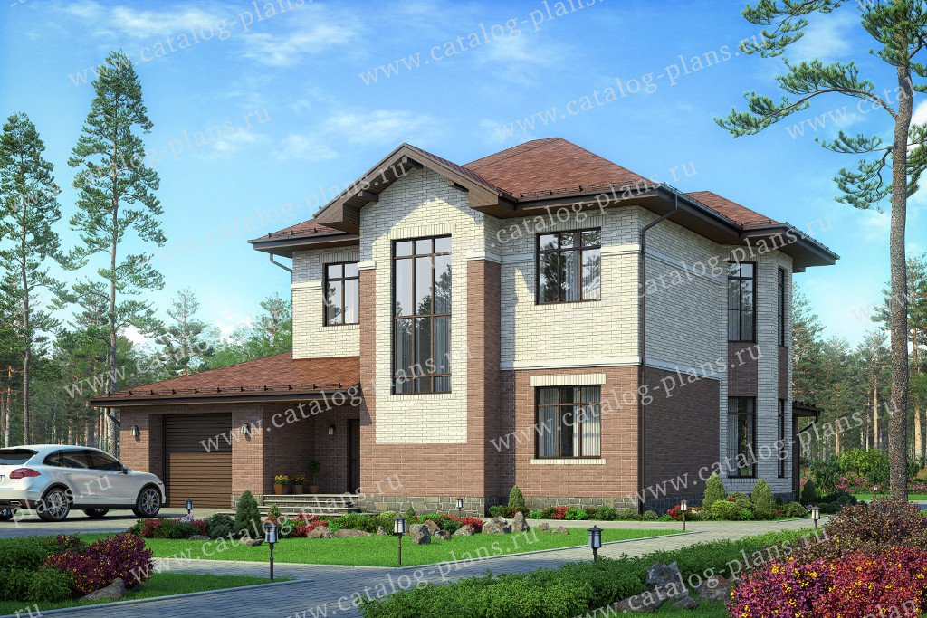 Проект жилой дом #58-78L материал - газобетон, стиль европейский