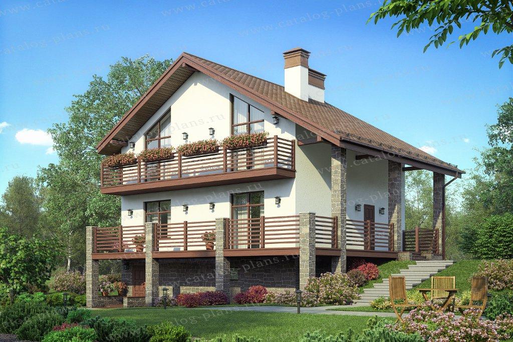 Проект жилой дом #58-80 материал - газобетон, стиль скандинавский