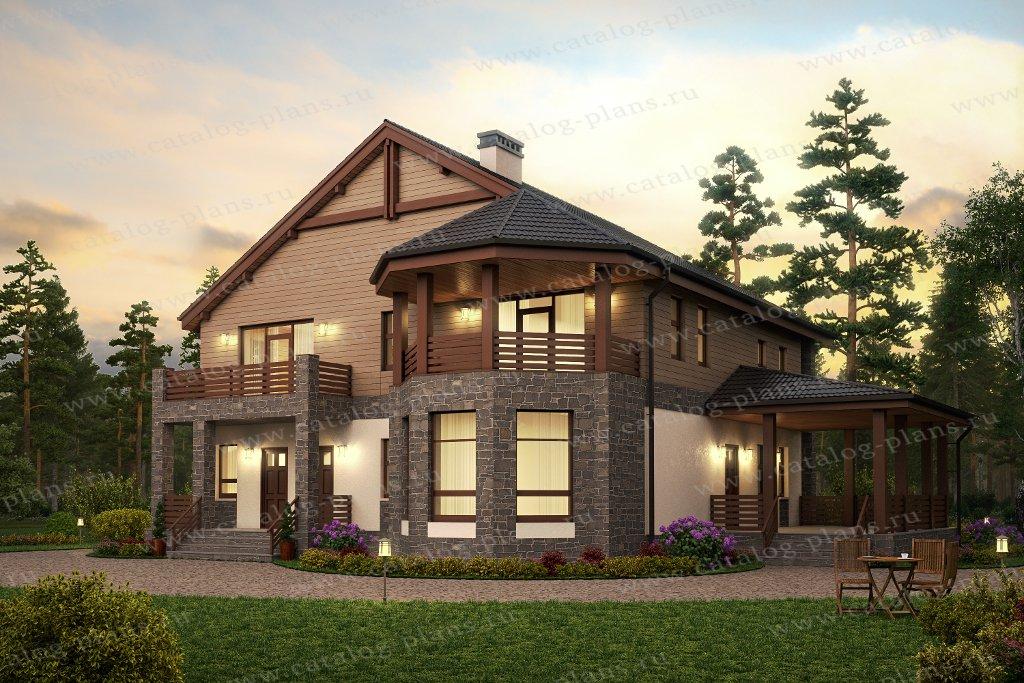 Проект жилой дом #57-34B материал - газобетон, стиль европейский