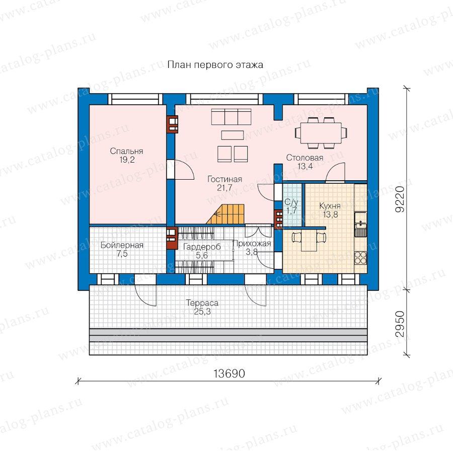 План 1-этажа проекта 40-72