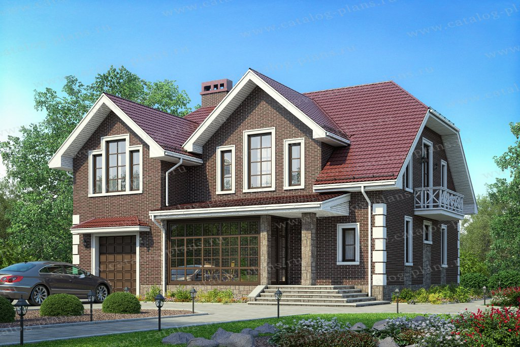 Проект жилой дом #57-48А материал - газобетон, стиль европейский
