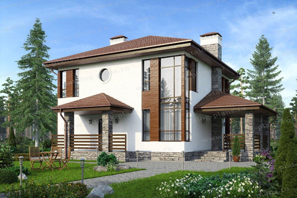 Проект жилой дом #59-79A материал - газобетон, стиль современный