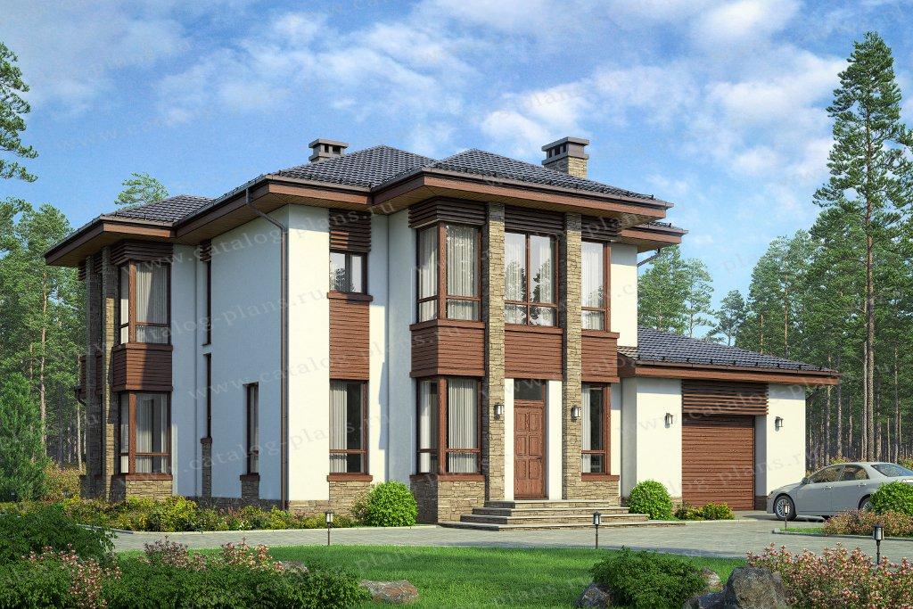 Проект жилой дом #58-87A материал - газобетонные блоки 400 мм, стиль современный