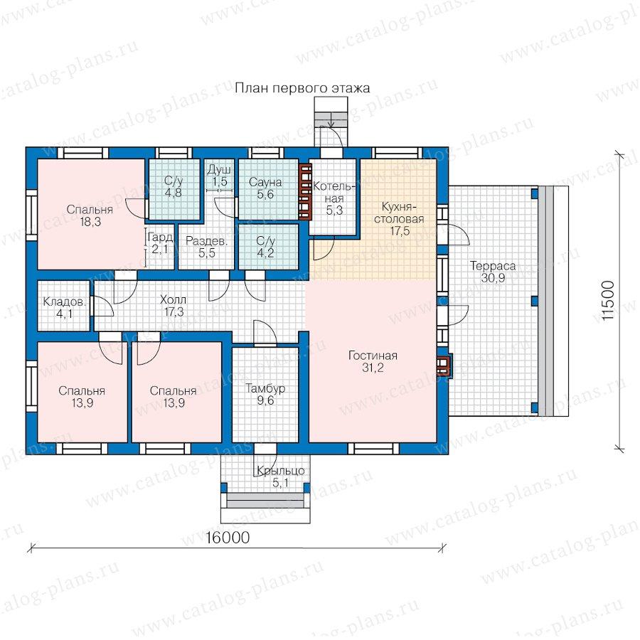 План 1-этажа проекта 58-84A
