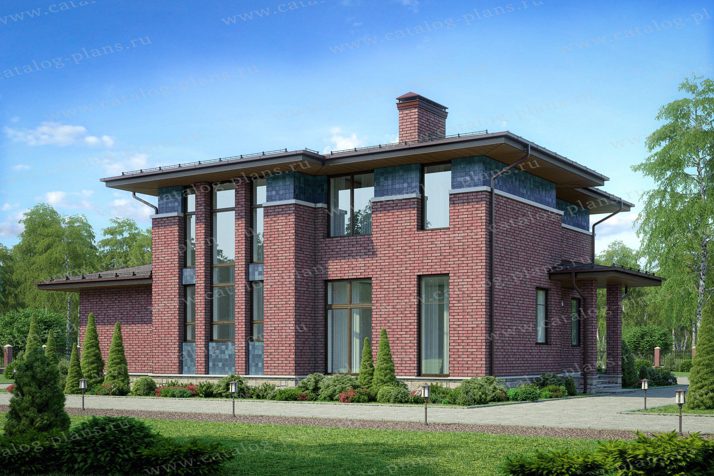 Проект жилой дом #40-78 материал - кирпич, стиль райта