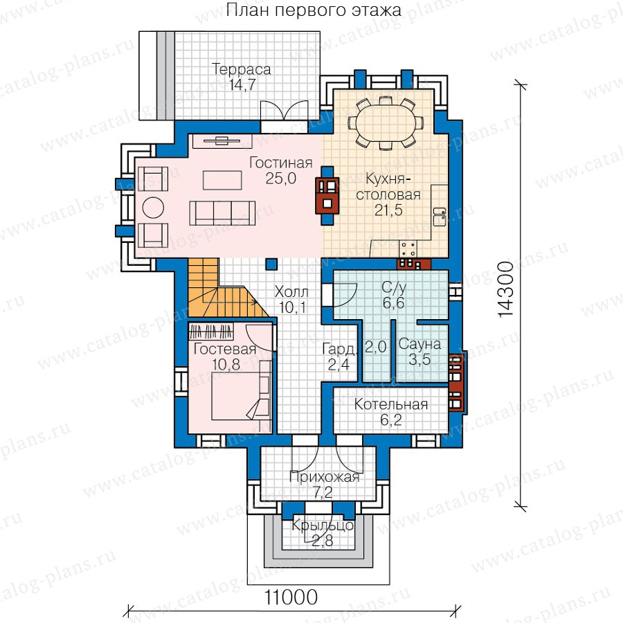 План 1-этажа проекта 58-87