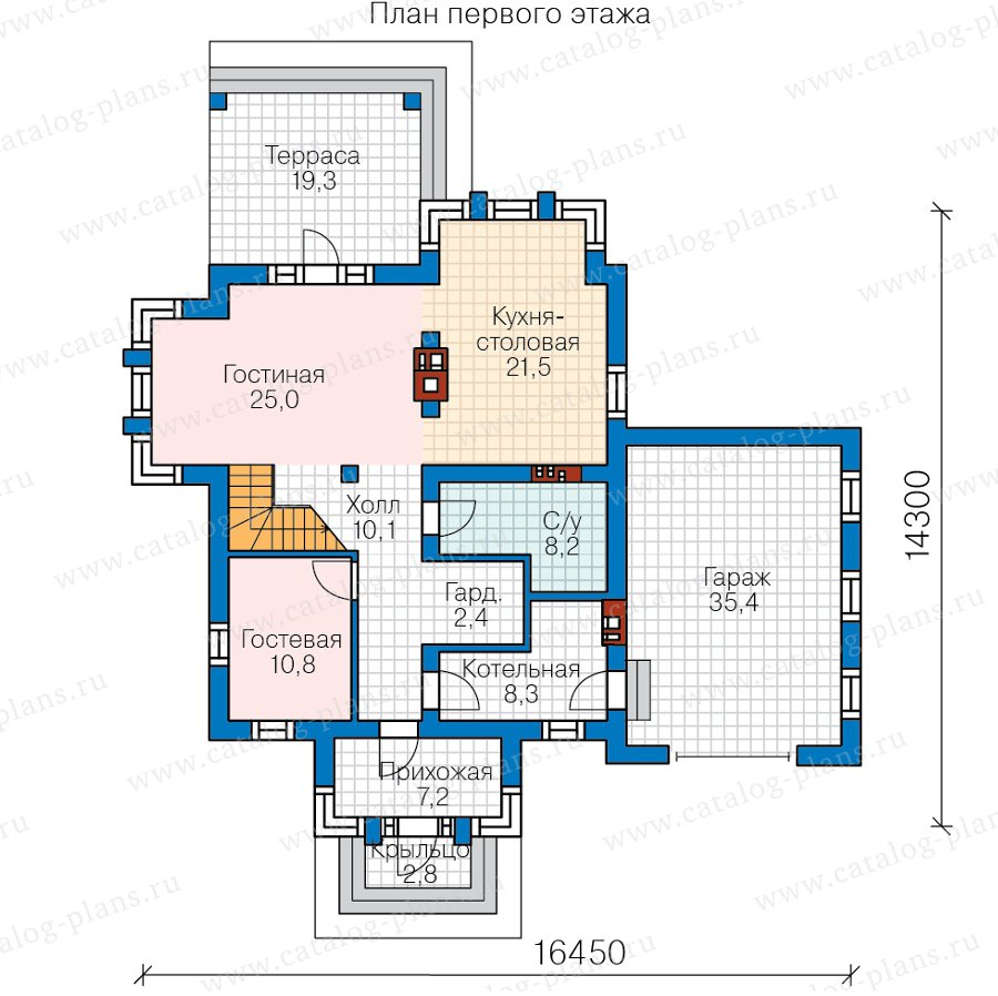 План 1-этажа проекта 58-87A