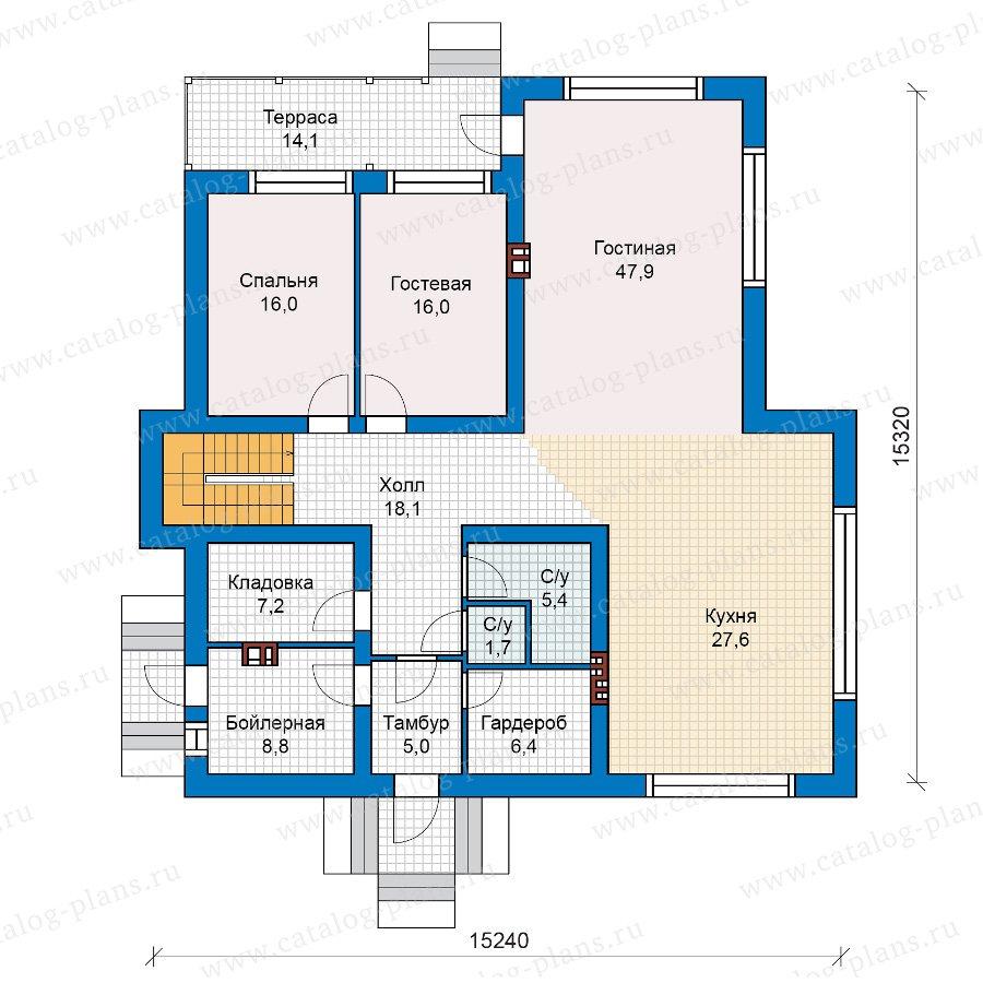 План 1-этажа проекта 40-18KL