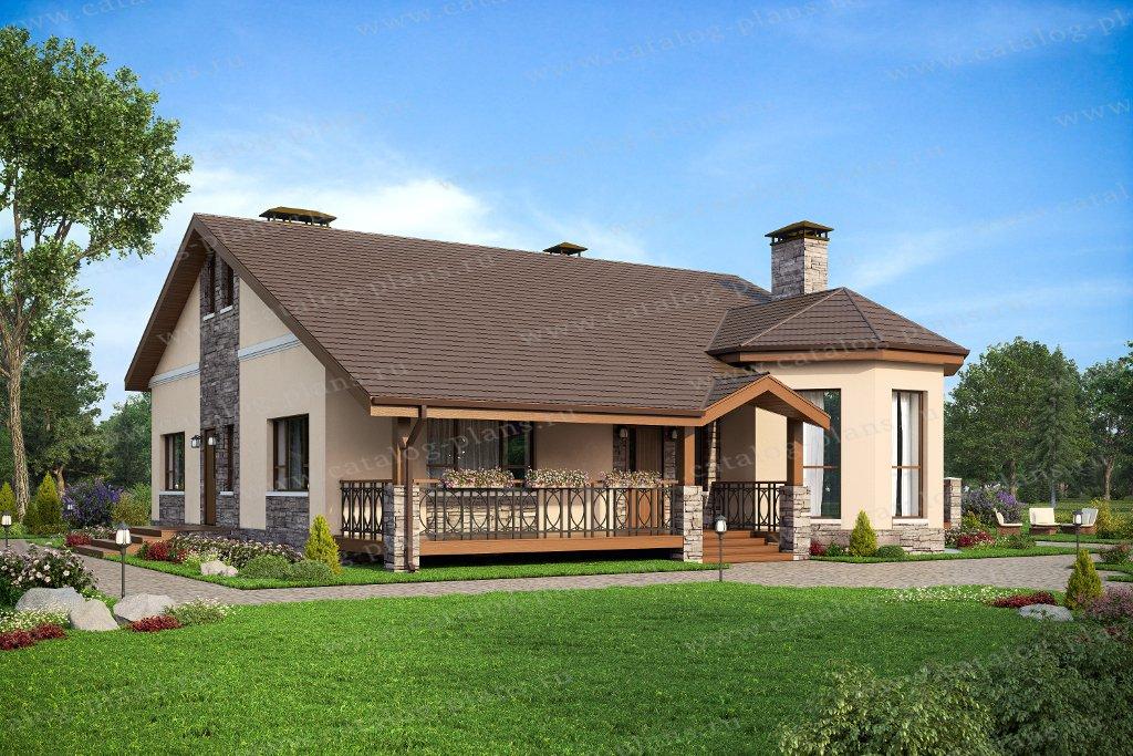 Проект жилой дом #57-24А материал - газобетон, стиль норвежский