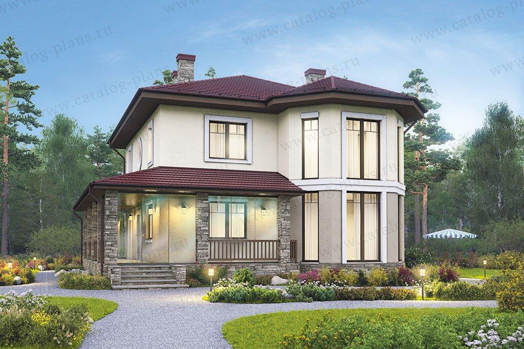 Проект жилой дом #59-92 материал - газобетон, стиль европейский