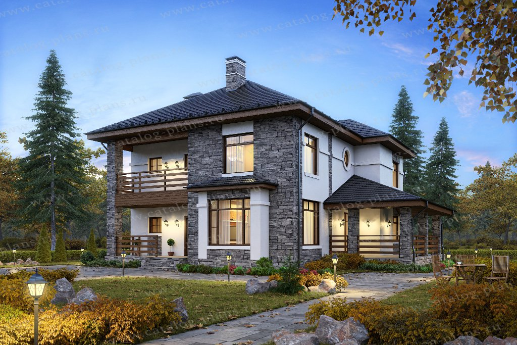 Проект жилой дом #57-39K1 материал - кирпич, стиль современный